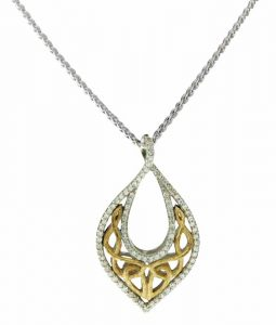 Celtic-inspired necklace in 10-karat gold, silver, and cubic zirconia (CZ) from the 'Love's Chalice' collection by Keith Jack Jewellery.