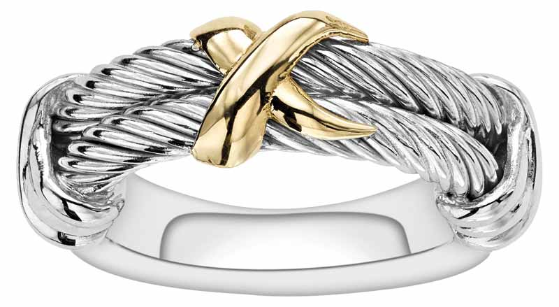 'Abbracio' ring in sterling silver with 18-karat gold from Phillip Gavriel's 'Italian Cable' collection.