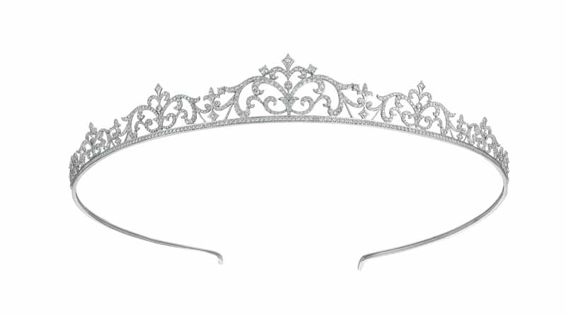 Tiara in 18-karat white gold set with 1000 diamonds (7.70 ctw) in 14 graduated stone sizes by Grunberger Diamonds.