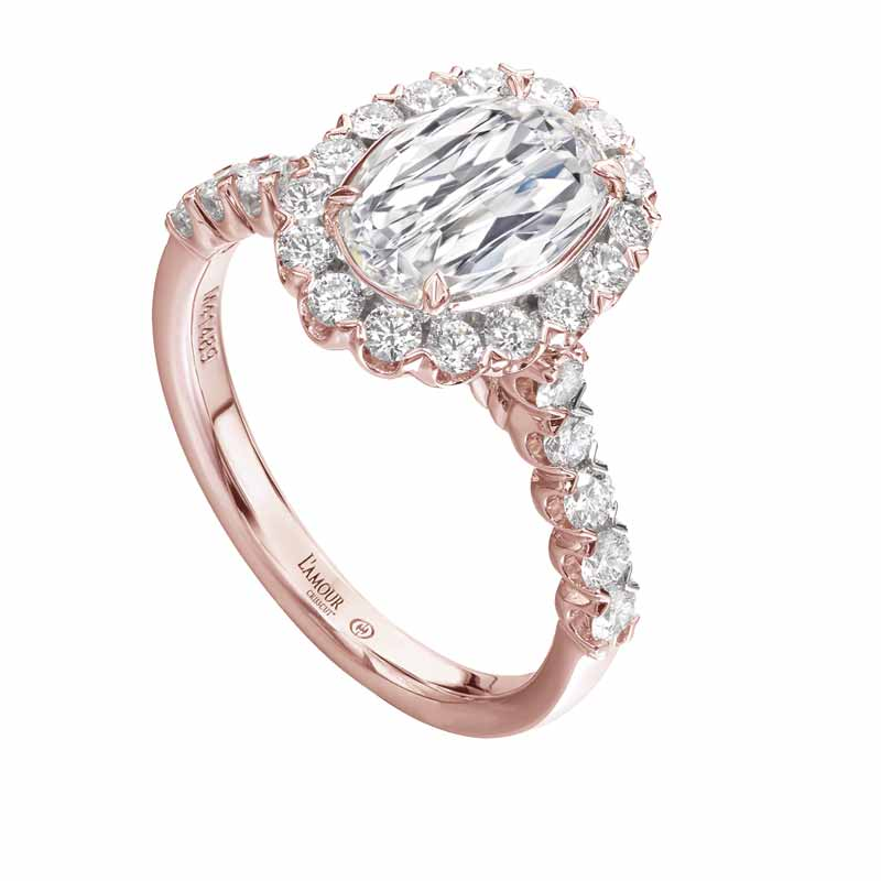 Rose gold ring with round diamonds and oval L'Amour Crisscut centre by Christopher Designs.