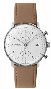 The max bill Chronoscope by Junghans features a self-winding movement, 48-hour power reserve, stainless steel case, and white dial.