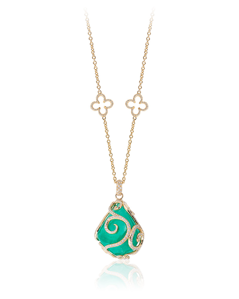 First Place: Erica Courtney – 18-karat yellow gold 'Emerald City' necklace featuring a 105.99-carat, pear-shaped emerald accented with diamonds (4.42 ctw).