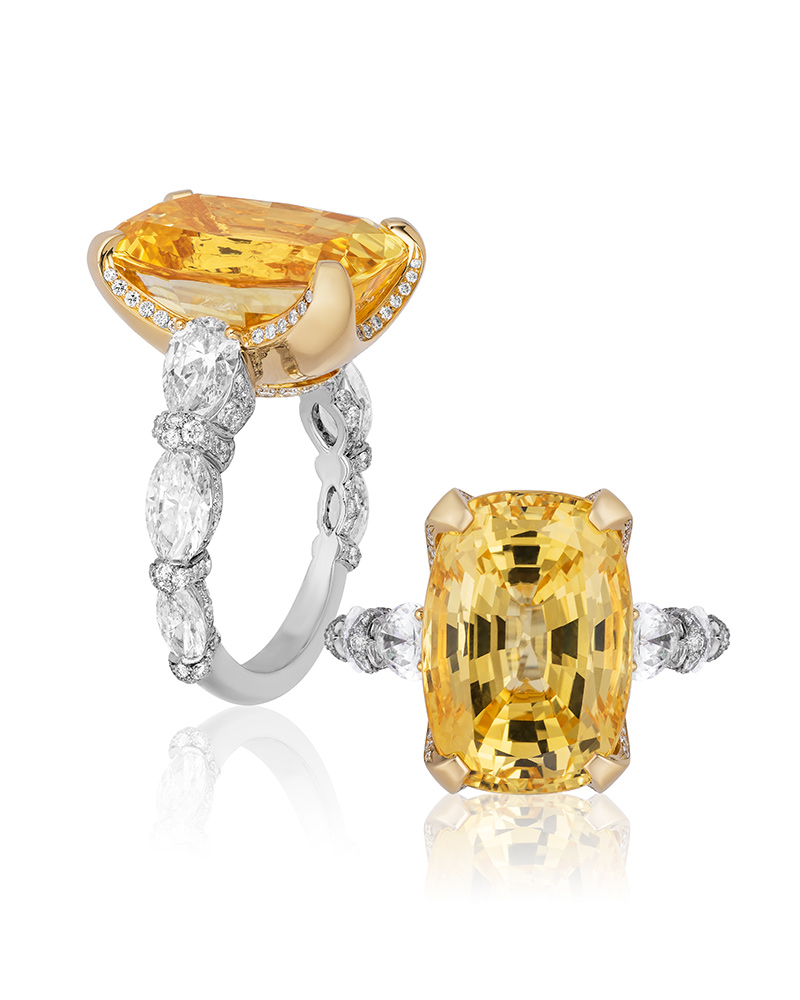 First Place: Gross & Currens, David Gross Group – Platinum ring featuring a 20.26-carat cushion-cut unheated yellow sapphire accented with diamonds (3.60 ctw).