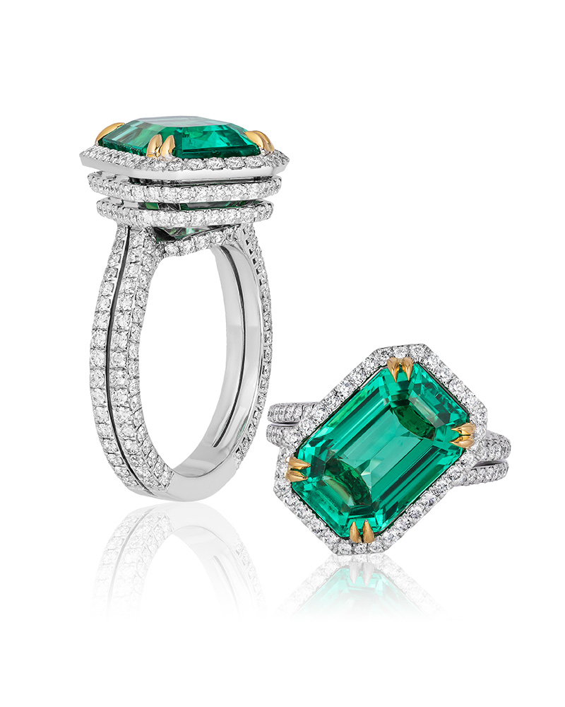 Joseph Ambalu, Amba Gem – Platinum and 18-karat yellow gold ring featuring a 7.16-carat untreated Russian emerald accented with diamonds. Photos courtesy AGTA