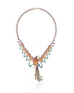 Ricardo Basta, E. Eichberg – 18-karat yellow gold 'Phoenix Rising' necklace featuring Mandarin garnets (28.04 ctw) accented with Paraiba tourmalines (1.55 ctw), sapphires (4.68 ctw), rubies (3.17 ctw), fire opals (1.35 ctw), tsavorite garnets (0.02 ctw), and a 0.77-carat turquoise.