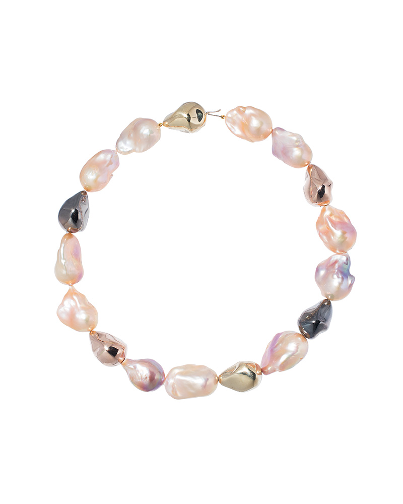 Avi Raz, A & Z Pearls – Necklace featuring 15- to 18-mm (0.6- to 0.7-in.) multicoloured natural baroque freshwater pearls accented with 14-karat rose, yellow, and rhodium-plated gold beads.