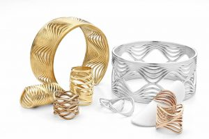 The 'Wave' collection by Burnaby, B.C., designer Kwabena Abeney took first place in the fashion/bridge jewellery collection category at the 2018 Saul Bell Design Award Competition. Photo courtesy Rio Grande