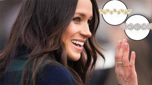 Birks is one of the Canadian brands to have benefitted from Meghan Markle's fashion choices. She is pictured here wearing Birks' rose gold and diamond snowflake ring with its yellow gold and diamond splash ring.