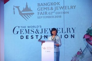 Chantira Jimreivat Vivatrat, director-general of Thailand's Department of International Trade Promotion (DITP), says this year's Bangkok Gems & Jewelry Fair (BGJF) could attract more than 20,000 buyers and visitors. Photo courtesy BGJF