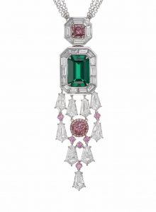The 'Earth Magic' necklace features a 5.25-carat Muzo emerald and two 1.77-carat Argyle pink diamonds. Photo courtesy Rio Tinto