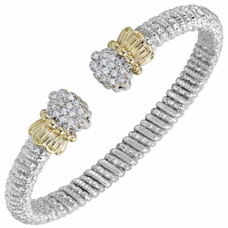 Diamond-set cuff (0.42 ctw) in sterling silver and 14-karat gold by VAHAN. MSRP $4334