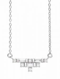 406-mm (16-in.) art deco necklace in 14-karat white gold with diamonds (0.25 ctw) by Stuller. MSRP $1599 Contact: Stuller (800) 877-7777