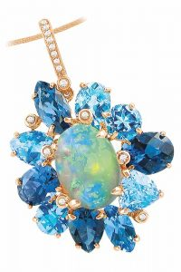 14-karat rose gold pendant featuring opal centre stone surrounded by blue topaz and diamond accents from the 'Magnolia' collection by Bellarri. MSRP US$4430