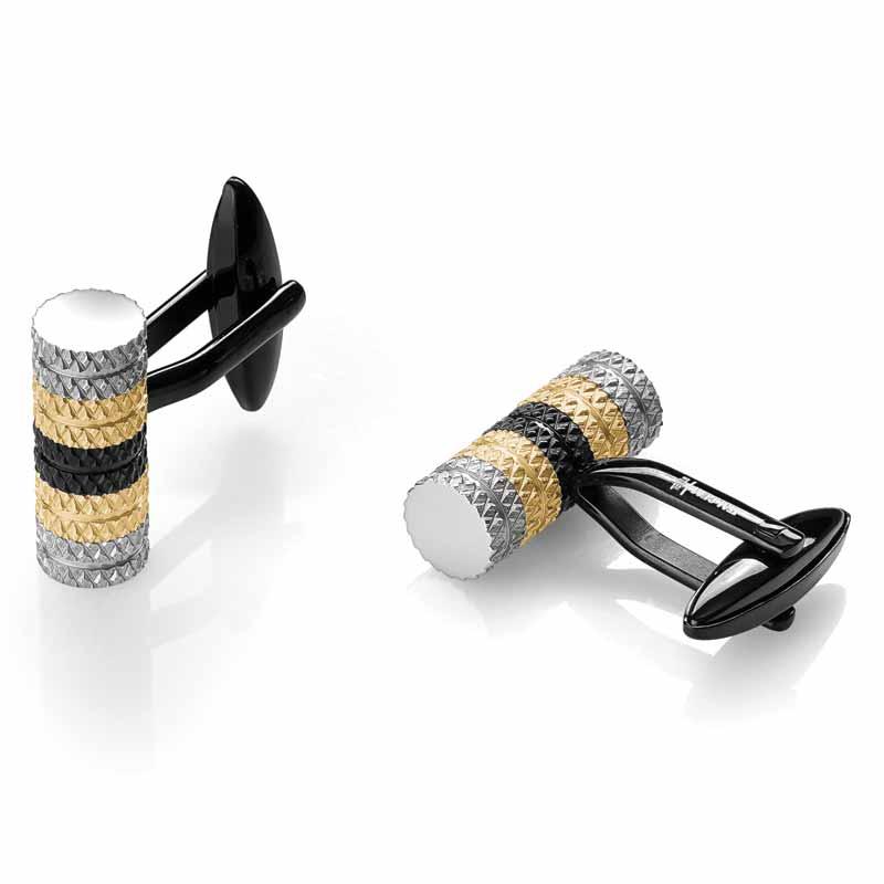 Black, gold, and stainless steel cufflinks by Italgem Steel. MSRP $99Contact: Italgem Steel (514) 388-5777