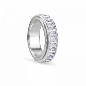 'Clarity' ring featuring clear baguette cubic zirconium spinning band by MeditationRings. MSRP $299