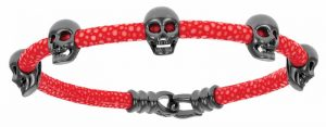 Bracelet by Double Bone featuring skulls in sterling silver and black rhodium. MSRP $378 Contact: Italgem Steel (514) 388-5777