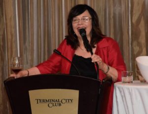 Donna Hawrelko, president of the Canadian Gemmological Association (CGA), speaks at Vancouver's Terminal City Club. Photos courtesy CGA