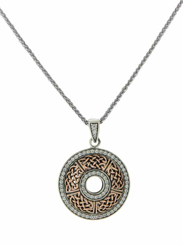 Sterling silver and 10-karat rose gold 'Brave Heart' pendant featuring cubic zirconia (CZ) by Keith Jack Jewellery. MSRP $429