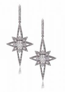 Star earrings with L'Amour Crisscut diamonds (1.15 ctw) and round diamonds (1.24 ctw) in 14-karat white gold by Christopher Designs. MSRP $14,174