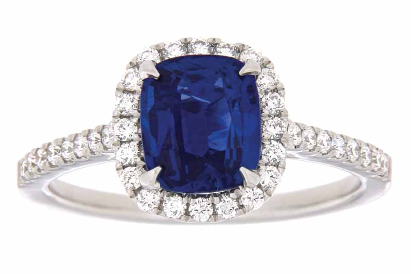 18-karat white gold ring with two-carat cushion-cut sapphire and VS/SI GH diamonds (0.30 ctw) by Paragon Fine Jewellery. MSRP $7890 Contact: Paragon Fine Jewellery (416) 306-1975