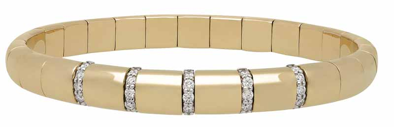 'Pura' bracelet in 18-karat yellow gold with five diamond bars (0.36 ctw) by Roberto Demeglio. MSRP $5411