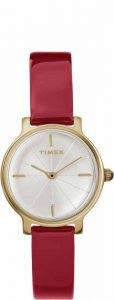 Watch from Timex's 'Women's Milan Oval' collection featuring silver dial and deep red strap. MSRP $139