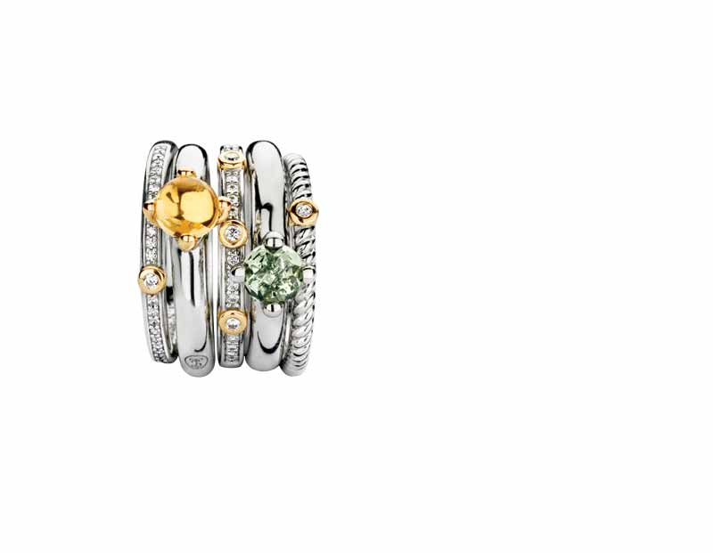 Mix-and-match rhodium- and gold-plated sterling silver rings by Ti Sento Milano. MSRP $99 to $139