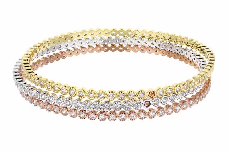 Stackable bracelets featuring white cubic zirconia from Lauren G Adams' 'Ladies' collection. MSRP $149 (per bracelet) Contact: Italgem Steel (514) 388-5777