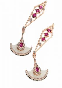 'Pendulum' earrings from the 'Precious Time' collection by K8 Jewelry Concepts Bijoux, featuring VS diamonds (0.95 ctw), princess-cut rubies, and pinkish-red spinel set in 18-karat rose and white gold.