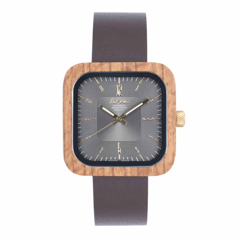 'Labrador Leather' timepiece by Tense Watches, featuring Italian leather strap and recycled wood case with Swiss movement. MSRP $214.99