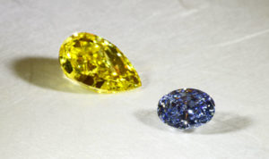 The Fancy Color Research Foundation (FCRF) reports across-the-board increases for blue diamond prices, while pink prices remain stable and yellows are experiencing declines. Photo courtesy FCRF