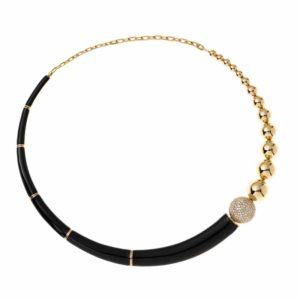 Necklace in 18-karat yellow gold from the 'Lingerie' collection by Nikos Koulis, featuring white diamonds and black enamel.