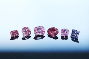 Strong results at Rio Tinto's Argyle Pink Diamonds Tender were supported by six featured gems, including the 2.28-carat 'Argyle Muse' (third from right), the 3.14-carat 'Argyle Alpha' (third from left), and the 2.08-carat 'Argyle Odyssey' (second from left). Photo courtesy Rio Tinto