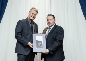 Allan Rodel, general manager of the Gahcho Kué mine (left), and Wally Schumann, Minister of Industry, Tourism, and Investment for the Government of the Northwest Territories (right). Photo courtesy the Government of the Northwest Territories
