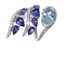 Sapphire, tanzanite, and diamond 'Yasmeen' ring by Casato.