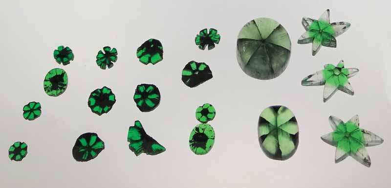 Trapiche emeralds on display at the 2WES from Bogotá's Emerald Museum.