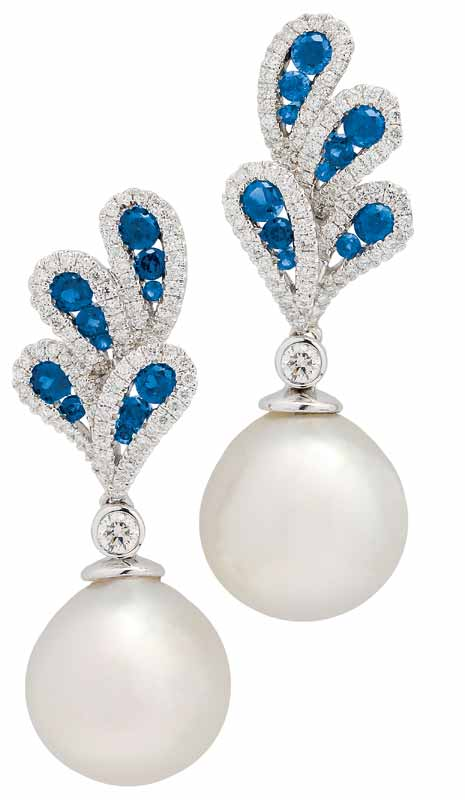 A pair of South Sea cultured pearl, sapphire, diamond, and white gold ear pendants.