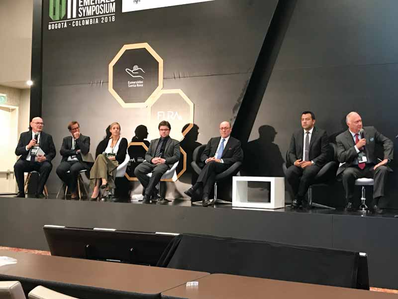 From left to right: Jean Claude Michelou, Daniel Nyfeler (Gubelin Lab), Cathelijne Klomp (LVMH), Mendelson, Charles Chaussepied (Responsible Jewellery Council [RJC]), Edwin Molina (Emerald Producers Association [Aprecol]), and Charles Burgess (MTC Muzo).