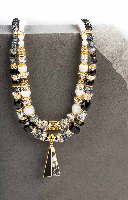 'Zedaya' statement necklace by Hillberg & Berk in sterling silver with yellow gold plating, snowflake obsidian, onyx, and faceted black onyx.