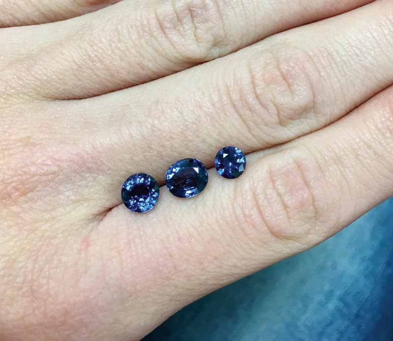 Three blue spinels. Spinel comes in many colours and can stand in for several classic gemstones.
