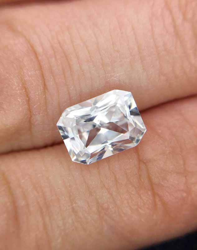 A 3.11-carat natural zircon. This gem has good lustre and dispersion and is a cheaper alternative to diamond.