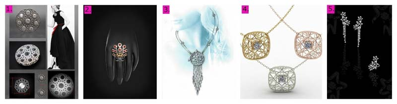 The finalists for the JNA Jewellery Design Competition's dancing stone category are (from left): Mami Ochiai (Japan), Ming Cheng Hsiao (Taiwan), Sanat Karmakar (Egypt), Allison (U.S.), and Wang Zi Ting (mainland China).