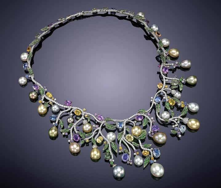 Multicoloured South Sea cultured pearls with white diamonds, multicoloured sapphires, and tsavorite garnets in a necklace from Assael's 'Tropical Luxe' collection.