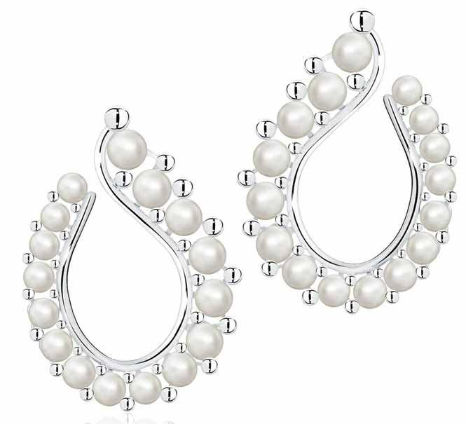Teardrop earrings in freshwater baroque pearl and sterling silver by Maison Birks.