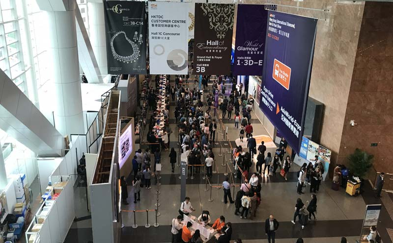 Crowds waiting to enter the Hong Kong International Jewellery Show on the event's opening day.