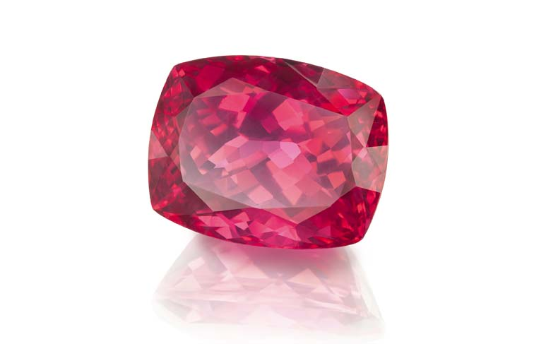 Pink and red spinels were hot gems at the Hong Kong shows. Shown here is a red cushion-cut spinel offered by German brand Constantin Wild.