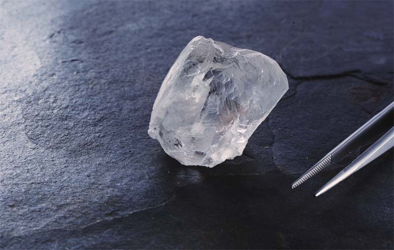 This 223-carat white diamond was found at Botswana's Karowe mine, which is run by Vancouver-based Lucara Diamond.