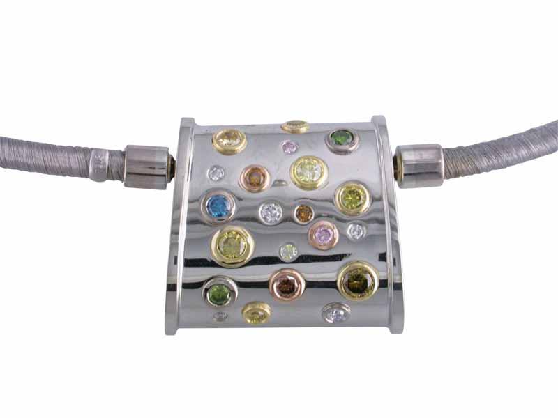 A 19-karat white gold interchange pendant clasp, bezel- and flush-set with natural-fancy and colour-enhanced round brilliant-cut diamonds.