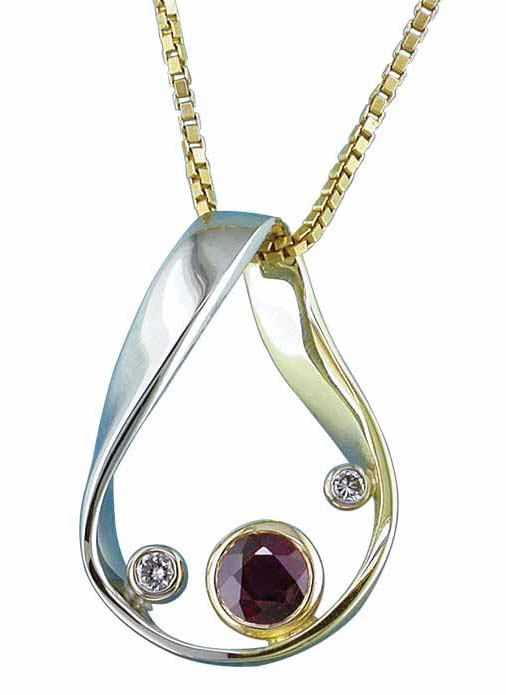 Möbius strip pendant in 19-karat white gold set with three round brilliant-cut diamonds, two white and one natural fancy chocolate brown.