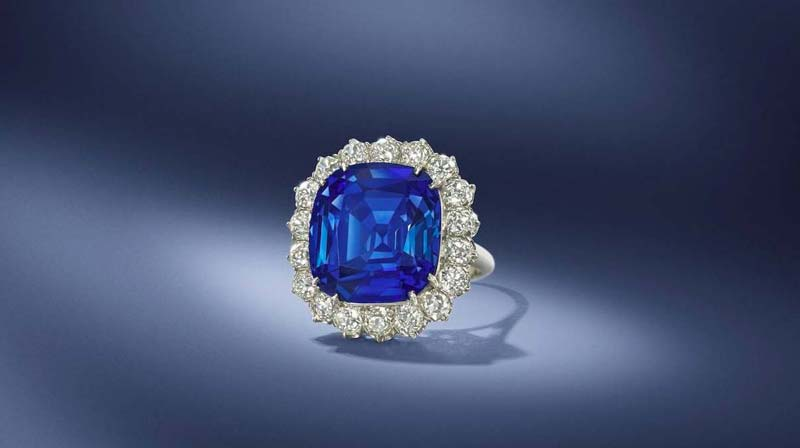 A 17.43-carat Kashmir sapphire ring sold for CAD$1,269,684 (GBP 723,062) at Bonhams London Jewels sale on April 30.